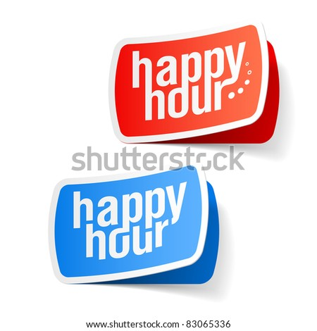 Happy hour labels. Vector.