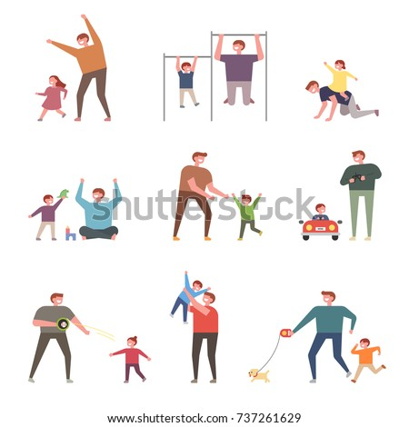 Happy hours of children with dad. people character vector illustration flat design