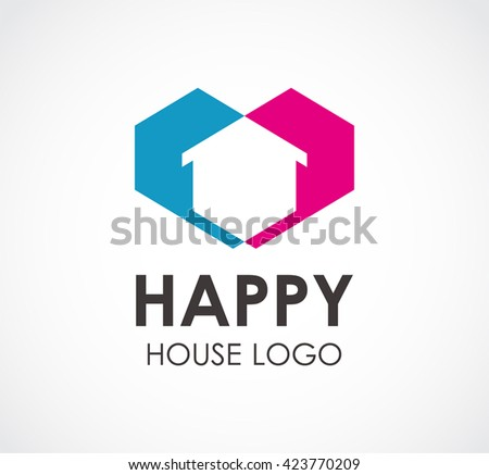 Happy house of love residence abstract vector and logo design or template real estate business icon of company identity symbol concept - stock vector
