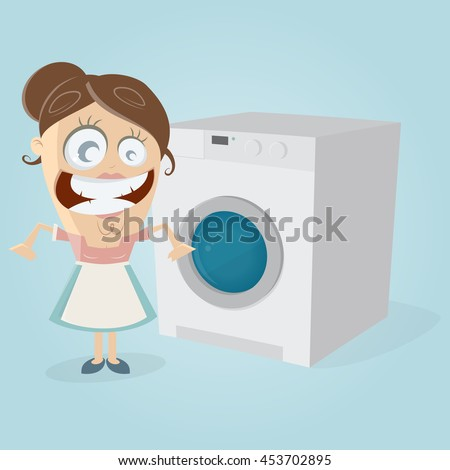 happy housewife with washing machine