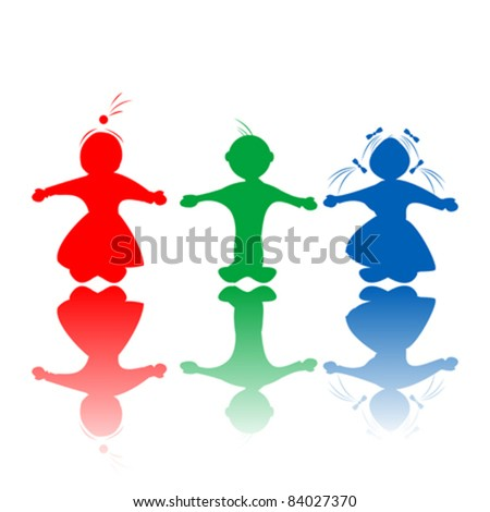 Happy hugging children silhouettes in colors, isolated objects over white background - stock vector