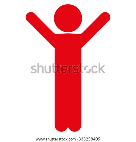 Happy Human Profile vector icon. Style is flat symbol, red color, rounded angles, white background. - stock vector