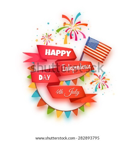 Happy independence day banner. Red ribbon with title. Vector illustration. - stock vector
