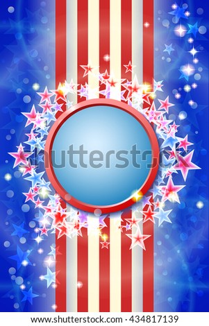 Happy independence day card. Celebration blue background with firework and stars - stock vector