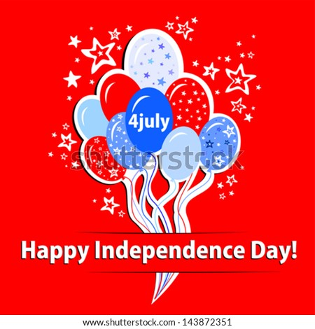 Happy independence day card. Celebration red background with balloon, stars and place for your text.  vector illustration