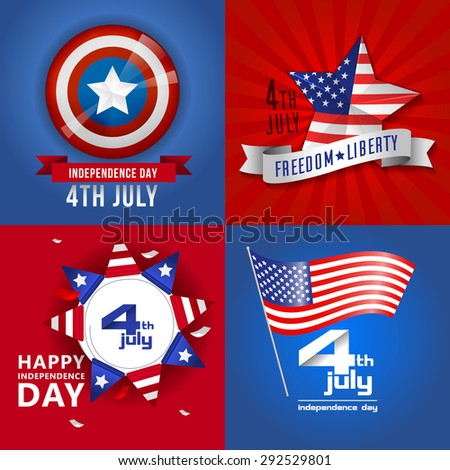 Happy independence day card. Independence day United States of America.4 th of July. Red blue background. - stock vector