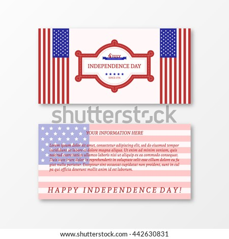 Happy independence day card United States of America. Paper design for 4th of July theme. American Flag paper design. Patriotic banner. Vector illustration greeting cards. - stock vector