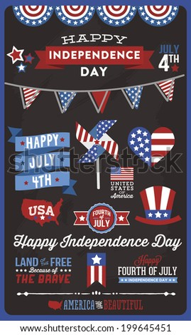 Happy Independence Day - Fourth of July - July 4th - Vector Set - Ribbons - Flags - Stars and Stripes - Pinwheel - USA - United States of America - stock vector
