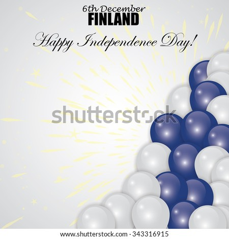 happy independence day of finland vector with flag colors as balloons