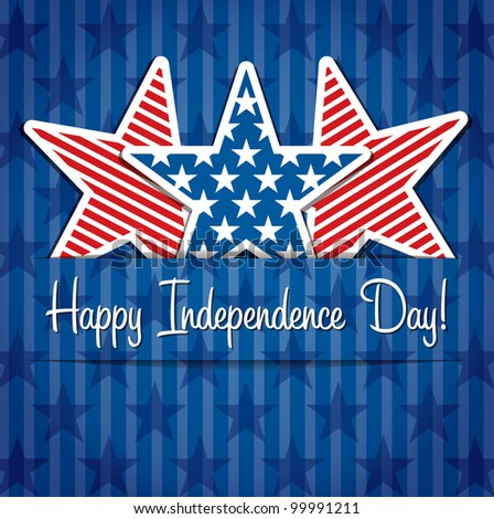 Happy Independence Day star card in vector format. - stock vector
