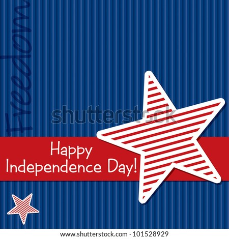 Happy Independence Day star cut out card in vector format. - stock vector