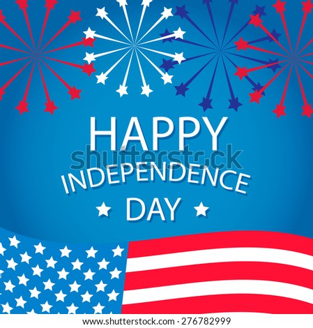 Happy Independence day symbol with US flag and fireworks, vector illustration - stock vector
