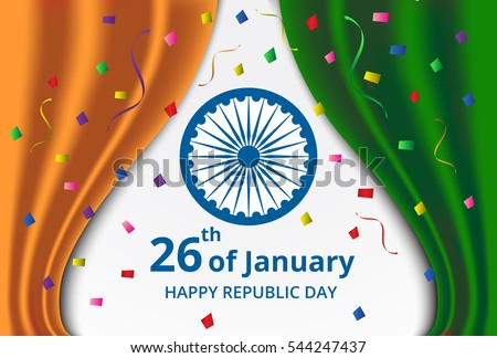 Happy indian republic day celebration on stock vector hd royalty happy indian republic day celebration on curtain color of india flag and confetti greeting card m4hsunfo Image collections