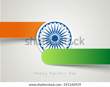 Happy Indian Republic Day celebration with Ashoka Wheel and glossy national flag color stripe on grey background. - stock vector