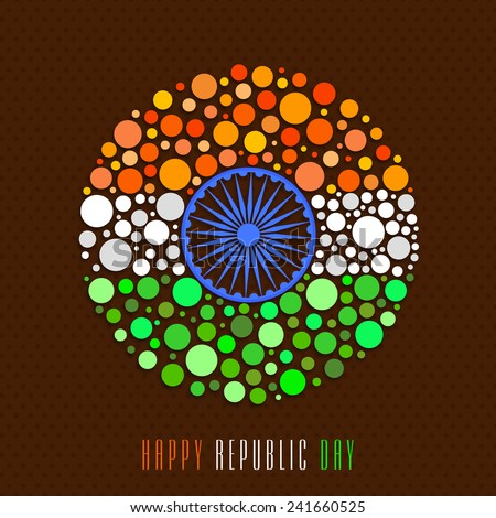 Happy Indian Republic Day celebration with Ashoka Wheel and national tricolor circles on brown background.  - stock vector