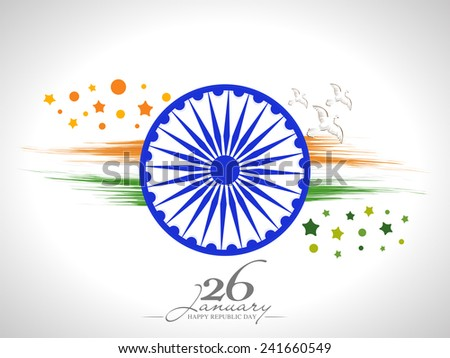 Happy Indian Republic Day celebration with Ashoka Wheel, flying pigeons and national flag colors paint stroke on shiny grey background. - stock vector