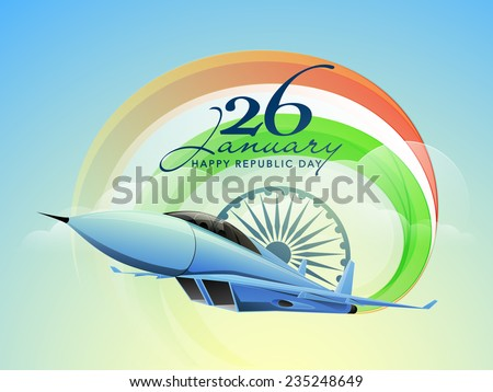 Happy Indian Republic Day celebrations with text 26 January, Ashoka Wheel and fighter airplane making national tricolors on nature view background.  - stock vector