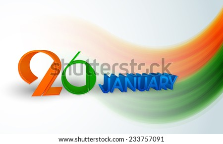 Happy Indian Republic Day concept with beautiful text 26 January with national flag color waves on blue background.