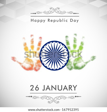 Happy Indian Republic Day concept with open human hand in saffron and green color, ashoka wheel on shiny grey background.  - stock vector