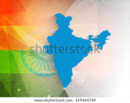 Happy Indian Republic Day concept with republic of India map in blue color on national flag colors background. - stock vector