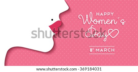 Happy International Women's Day on March 8th design background. Illustration of woman's face profile with retro style makeup. EPS10 vector. - stock vector