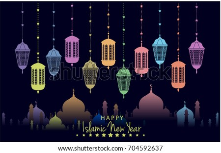 Happy islamic new year greeting card stock vector hd royalty free happy islamic new year greeting card or background vector illustration m4hsunfo