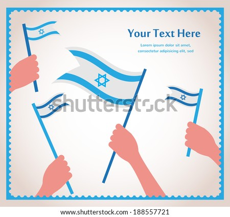 Happy Israeli independence day. Hands holding a flags.  - stock vector