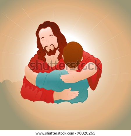 Happy Jesus with Young Boy - stock vector