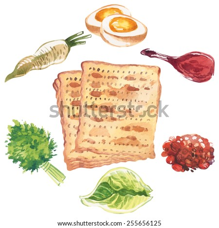 Happy Jewish Passover greeting card. Watercolor icon set isolated background - stock vector