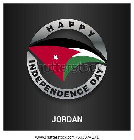 Happy Jordan independence day Flag metal badge - National Day silver border - Vector illustration - stock vector