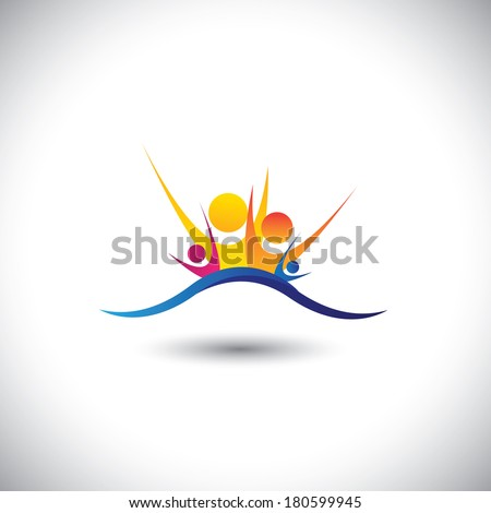 happy joyous family members together as unit - concept vector. This graphic also represents family bonding, relationship, happiness, joy & fun, colorful people - stock vector
