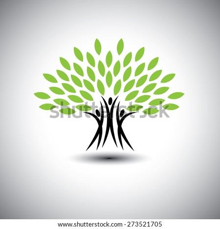 happy, joyous people as trees of life - eco concept vector icon. This graphic also represents harmony, joy, happiness, friendship, education, peace, development, healthy growth, sustainability - stock vector