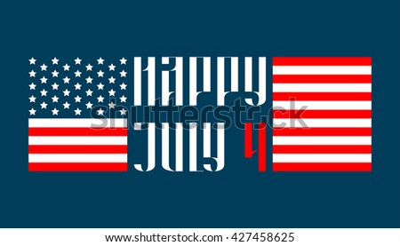 Happy July 4 traditional vector lettering in russian style
