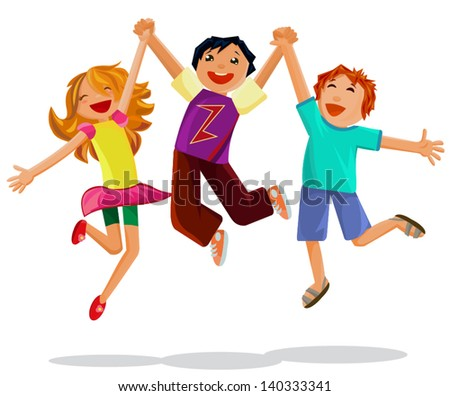 Happy jumping  kids holding hands isolated on white background - stock vector