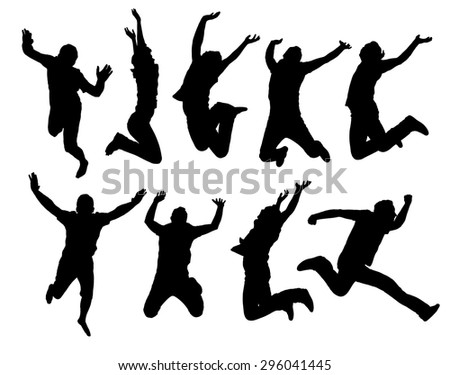 Happy jumping people silhouettes. Black and white vector collection. - stock vector