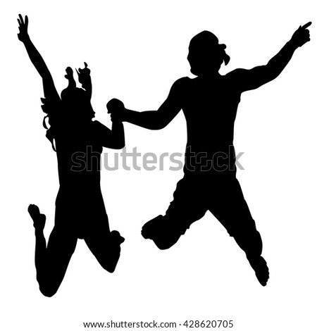 Happy jumping people silhouettes. Black silhouette on a white background. Vector.