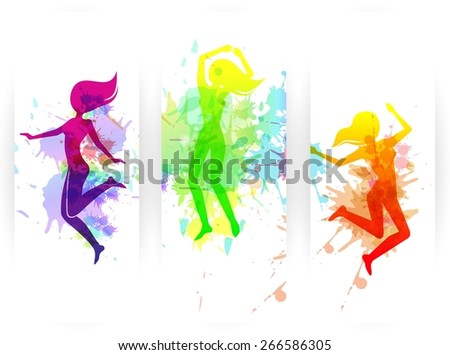 Happy jumping people silhouettes colorful vertical paper banners set isolated vector illustration - stock vector