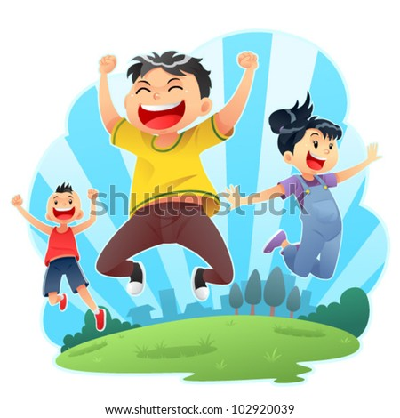 Happy Jumps Joyful day jumps. Editable vector eps 8. - stock vector