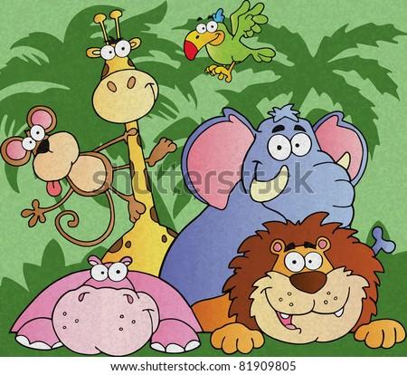 Happy Jungle Animals Vector Illustration - stock vector