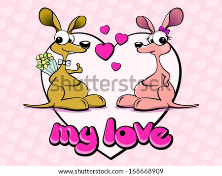 happy kangaroo couple on a pink hearts background - stock vector