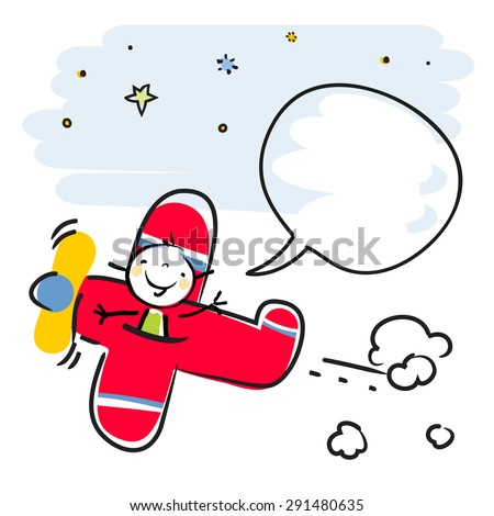 Happy kid, girl pilot flying in a red airplane, with speech balloon. Vector doodle style illustration.  - stock vector