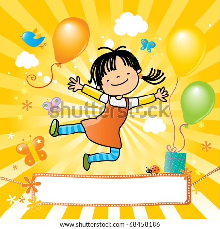 happy kid jumping, party invitation with nice banner for your message. - stock vector