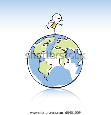 happy kid on top of the globe, peace on earth concept in children's drawing style series. see more images related sticky figure - stock vector