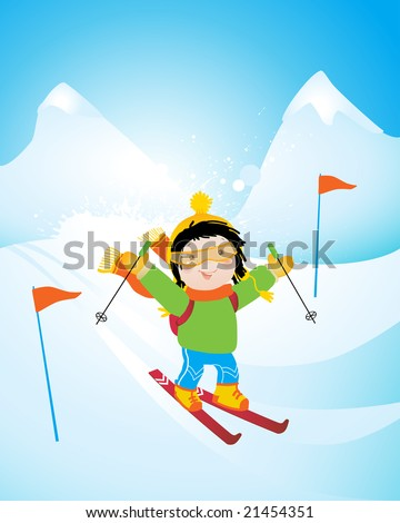 happy kid skiing on a slope, winter season sports vector illustration