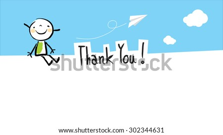 Happy kid thank you card with blank space for text insertion. Vector doodle style illustration.  - stock vector
