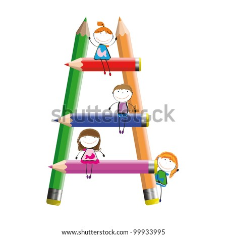 Happy kids and colorful ladder with crayons - stock vector