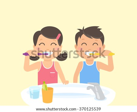 Happy kids brushing teeth standing in the bathroom near sink. Flat illustration of children teeth care and healthy lifestyle and hygiene - stock vector