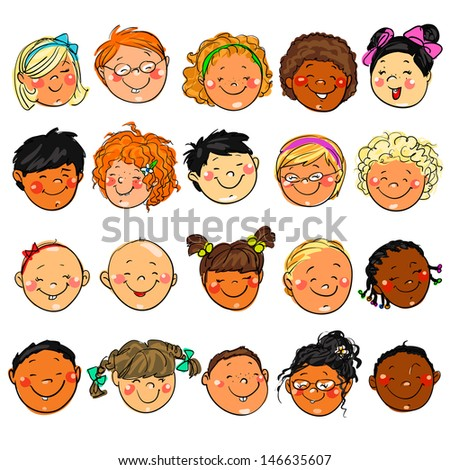 happy kids faces hand drawn clipart stock photo photo vector rh shutterstock com clip art facts clipart face fit