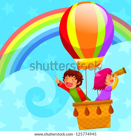 happy kids flying in a hot air balloon (JPEG available in my gallery) - stock vector