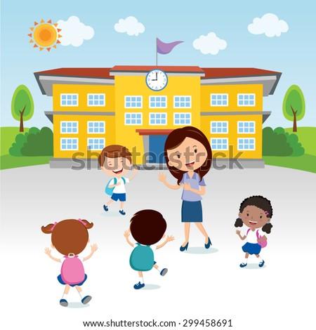 Happy kids go to school. Cheerful teacher gesturing to the school kids in front of the school building. - stock vector